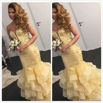 Cheap Long Sexy Mermaid Sweetheart Sleeveless Zipper Appliques Prom Dresses 2019 For Short Girls