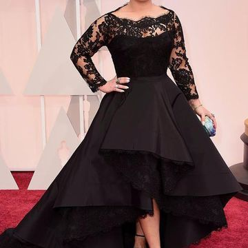 Cheap Plus Size Black Long Sleeves Zipper Prom Dresses 2019 Lace