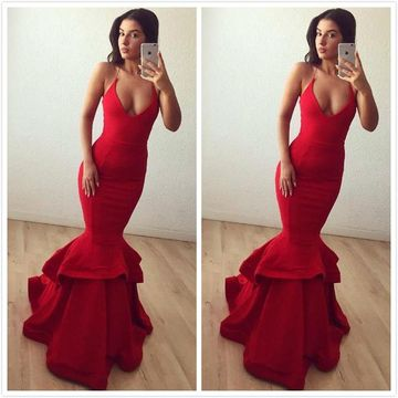 Red Long Prom Dresses 2019 Mermaid Sexy
