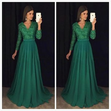 9cad13fa65 Green Long Prom Dresses 2019 A-line Modest