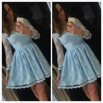 Light Sky Blue V-neck Long Sleeves A-line 2019 Homecoming Dress Lace