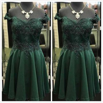 Green Off the Shoulder Lace A-line 2019 Homecoming Dress