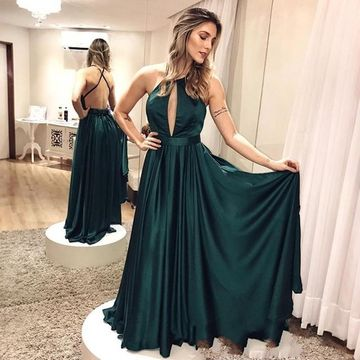 Long Prom Dresses 2019 A-line Halter Sleeveless Open Back Sexy