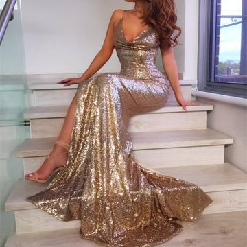 Gold Sequin Long Prom Dresses 2019 Mermaid V-Neck