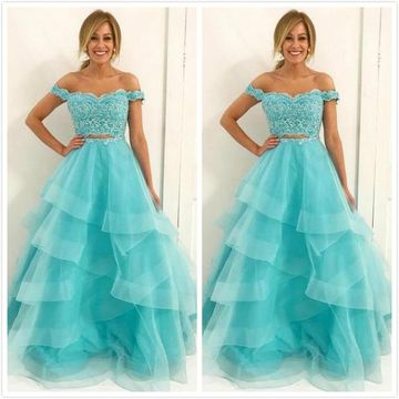 Long Prom Dresses 2019 Lace Two Piece