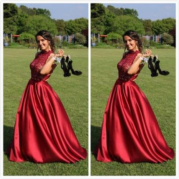 Red Long Prom Dresses 2019 A-line Sleeveless Lace Two Piece