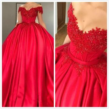 Red Long Prom Dresses 2019 Ball Gown Sleeveless