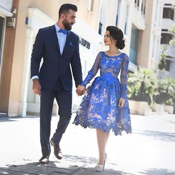 Short Prom Dresses 2019 A-line Long Sleeves