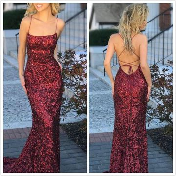 Burgundy Long Prom Dresses 2019 Sheath Sleeveless Open Back Sexy