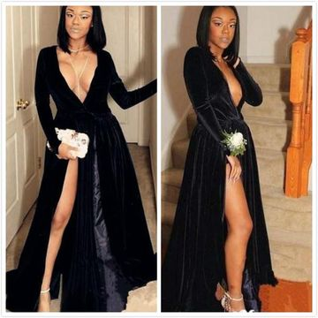 89df56ad46b47 49%OFF Black Long Prom Dresses 2019 A-line V-Neck Long Sleeves ...