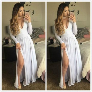 Long Prom Dresses 2019 A-line V-Neck Long Sleeves Sexy