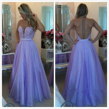 Sexy Purple A-line Short Sleeves Zipper Embroidery Prom Dresses 2019 Open Back