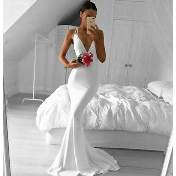 White Long Prom Dresses 2019 Mermaid V-Neck Sleeveless Sexy