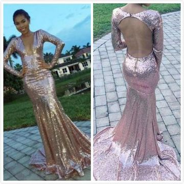 Long Prom Dresses 2019 Mermaid V-Neck Long Sleeves Open Back Sexy