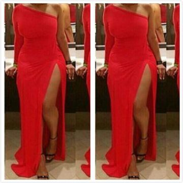 Red Long Prom Dresses 2019 Sheath One Shoulder Sexy Plus Size