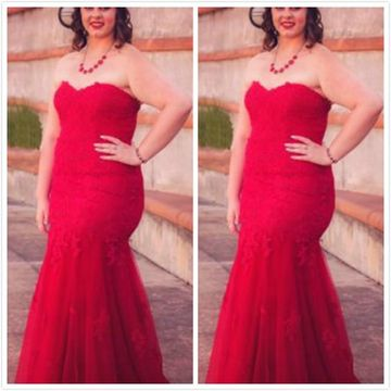 Red Long Prom Dresses 2019 Mermaid Strapless Sleeveless Plus Size