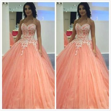 fd54d500486 49%OFF Pink Long Prom Dresses 2019 Ball Gown Sleeveless ...
