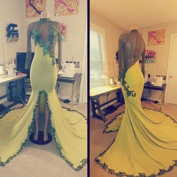 Green Long Prom Dresses 2019 Mermaid Long Sleeves