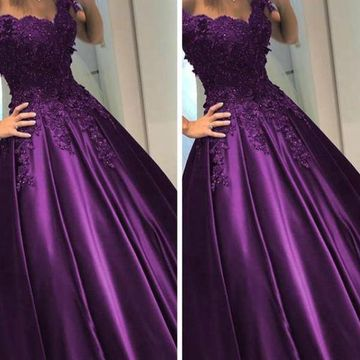 Grape Long Prom Dresses 2019 Ball Gown V-Neck
