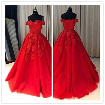 70d3b35fe48 49%OFF Red Long Prom Dresses 2019 A-line Ball Gown – lolipromdress.com