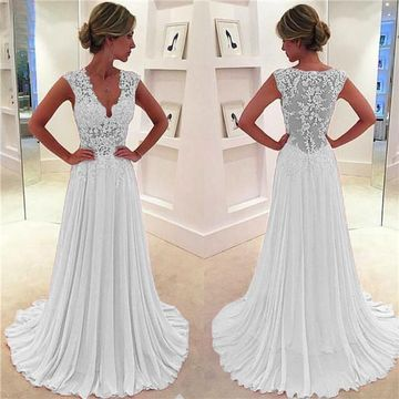 Long A-line V-Neck Sleeveless Zipper Appliques Prom Dresses 2019 Chiffon