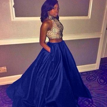 Long African Blue A-line Halter Sleeveless Zipper Beading Prom Dresses 2019 Sexy Two Piece