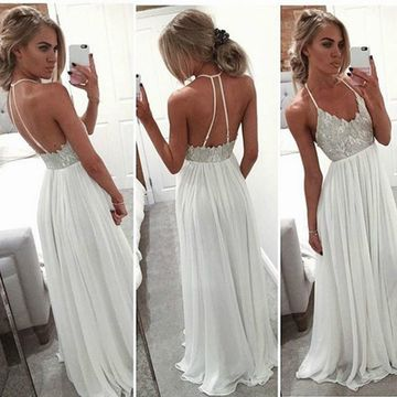 Long Sexy White A-line Spaghetti Straps Sleeveless Backless Beading Prom Dresses 2019 Open Back Chiffon