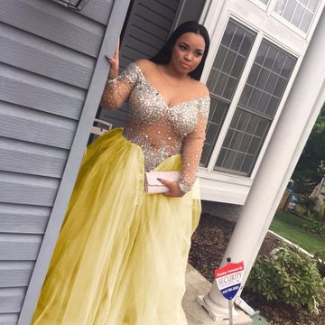 49%OFF Plus Size Ball Gown Long Sleeves Crystal Detailing ...