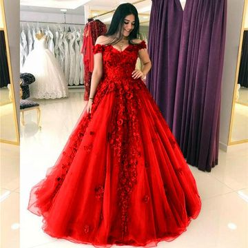 Burgundy Long Prom Dresses 2019 Ball Gown