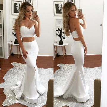 White Long Prom Dresses 2019 Mermaid Two Piece