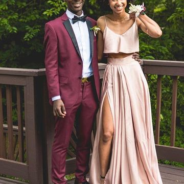 Pink Long Prom Dresses 2020 A-line Sleeveless African Two Piece