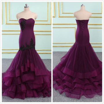 Modest Purple Trumpet/Mermaid Sleeveless Natural Waist Tiers Appliques Sequins Prom Dresses 2019