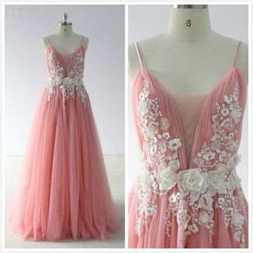 Simple Formal Gorgeous Pink A-line Sleeveless Natural Waist Flowers Appliques Prom Dresses 2019