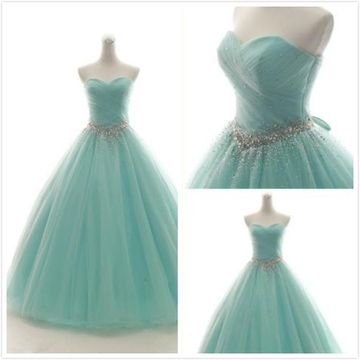 Princess Gorgeous Mint Green Ball Gown Sleeveless Natural Waist Beading Ruched Prom Dresses 2019