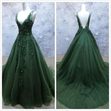 Elegant Gorgeous Dark Green A-line Sleeveless Natural Waist Beading Sequins Appliques Prom Dresses 2019