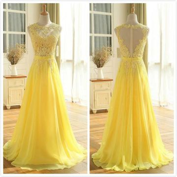 Formal Gorgeous Yellow A-line Sleeveless Natural Waist Appliques Prom Dresses 2019