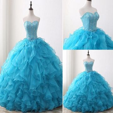 Elegant Princess Formal Blue Ball Gown Sleeveless Natural Waist Ruffles Beading Sequins Prom Dresses 2019