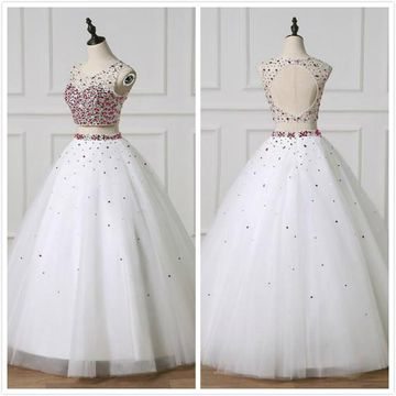 Gorgeous White Ball Gown Sleeveless Natural Waist Beading Sequins Prom Dresses 2019