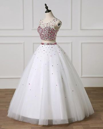 d7f40c538f Gorgeous White Ball Gown Sleeveless Natural Waist Beading Sequins Prom  Dresses 2019