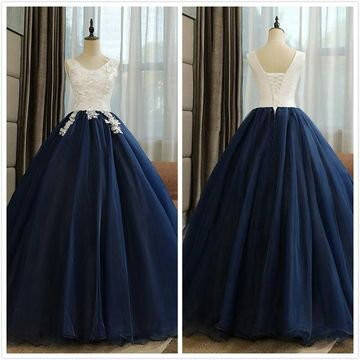 Formal Gorgeous Dark Navy Ball Gown Sleeveless Natural Waist Appliques Sequins Prom Dresses 2020
