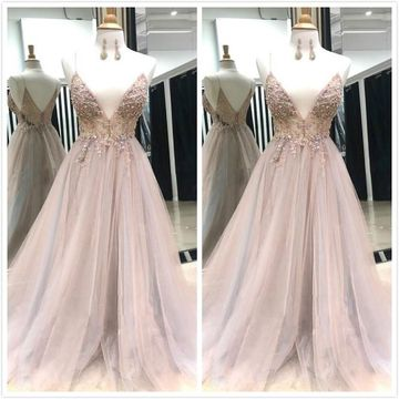Elegant Sexy Pink A-line Sleeveless Natural Waist Beading Prom Dresses 2019