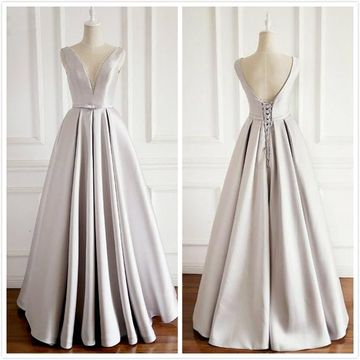 Simple Gorgeous Gray A-line Sleeveless Natural Waist Beading Bow Prom Dresses 2019