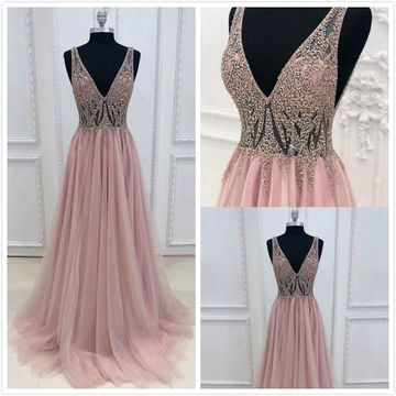 Elegant Princess Formal Pink A-line Sleeveless Natural Waist Beading Prom Dresses 2019