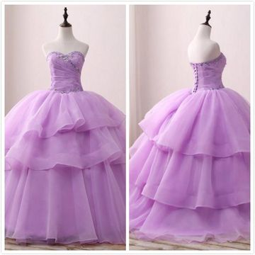 Princess Gorgeous Lavender Ball Gown Sleeveless Natural Waist Beading Sequins Prom Dresses 2019