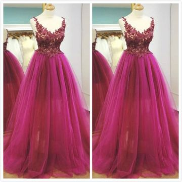 Elegant Formal Red A-line Sleeveless Natural Waist Appliques Prom Dresses 2019