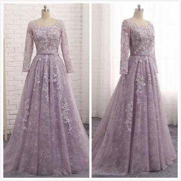 Elegant Princess Formal A-line Long Sleeves Natural Waist Beading Prom Dresses 2019 Floor-length
