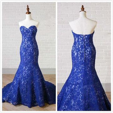 Elegant Royal Blue Trumpet/Mermaid Sleeveless Natural Waist Prom Dresses 2019 Floor-length