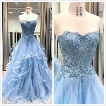 Elegant Formal Blue A-line Sleeveless Natural Waist Appliques Sequins Prom Dresses 2020