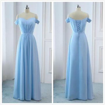 Simple Light Sky Blue A-line Short Sleeves Natural Waist Ruched Prom Dresses 2019