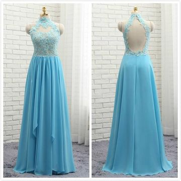 Formal Blue A-line Sleeveless Natural Waist Beading Prom Dresses 2019